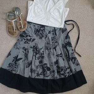 TALBOTS Gingham & Butterfly Skirt